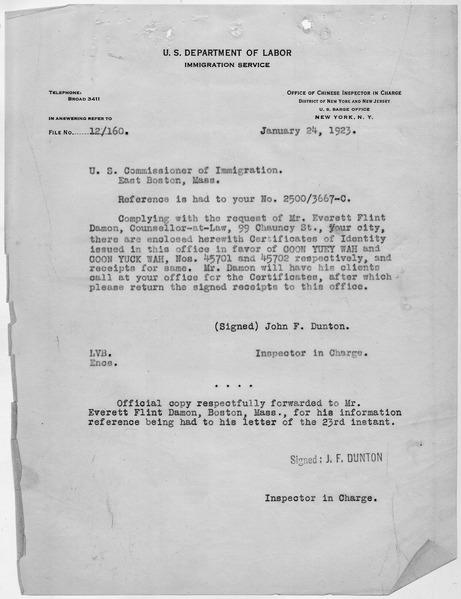 File:Letter transmitting Certificates of Identity for Goon Yuck Wah and Goon Yuey Wah. - NARA - 278536.tif