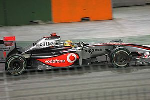 Lewis Hamilton driving for McLaren at the 2009...