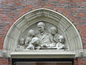 Wheelock College - Bas-relief of Friedrich Fröbel, founder of the kindergarten movement, over the library doorway