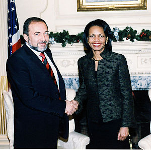 Avigdor Lieberman - Lieberman and US Secretary of State Condoleezza Rice