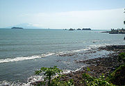 Bioko (Equatorial Guinea) visible in the distance from Cameroon