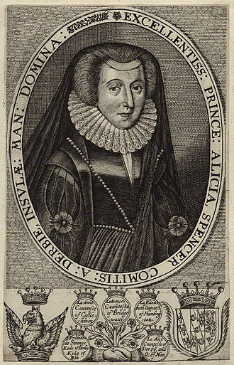 Alice Spencer, Countess of Derby - Engraving of Alice Spencer by an unknown artist. It is displayed in the National Portrait Gallery, London