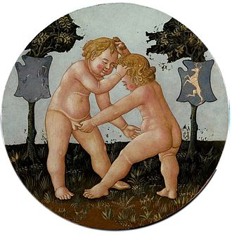 Giovanni di ser Giovanni Guidi - Verso, as last. Two putti engage in no holds barred wrestling