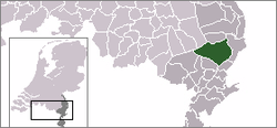 Highlighted position of Peel en Maas in a municipal map of Limburg