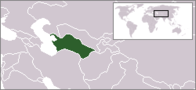 A map showing the location of Turkmenistan