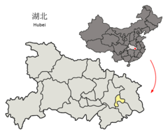 Location of Ezhou Prefecture within Hubei (China).png