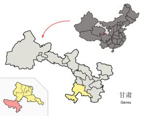 Maqu County - Maqu (pink) within Gannan Prefecture (yellow) within Gansu (grey)