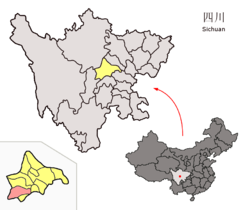 Location of Qionglai within Sichuan (China).png