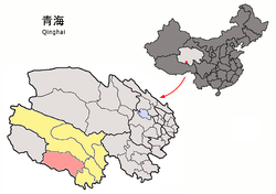 Location of Zadoi County (red) within Yushu Prefecture (yellow) and Qinghai