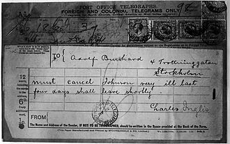 """Carl Hans Lody - Lody's telegraph to """"Adolf Burchard"""" in Sweden, which revealed his assumed identity to the British authorities"""