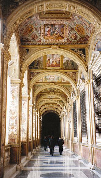 Vatican loggias - A view down the loggie