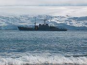 Resupply by the Uruguayan Navy vessel Vanguardia.