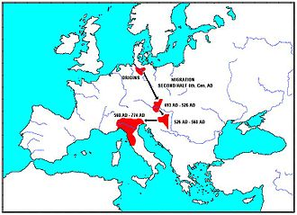 Northern Italy - Migration of the Lombards towards Northern Italy