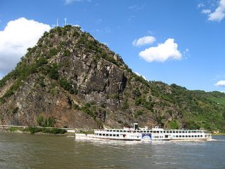 Lorelei rock on the eastern bank of the River Rhine in Germany
