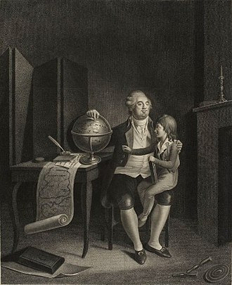 Louis XVII of France - Louis XVI taking care of the education of his son in the Temple, (Musée de la Révolution française).