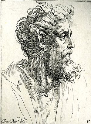 Lucas Vorsterman II - Head of a bearded man, in profile to right