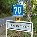 Luxembourg road sign F,14a Schiessentumpel.jpg