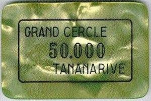 Casino token - 50,000 Malagasy franc gaming plaque from Grand Cercle casino, Antananarivo, Madagascar, circa 1995.