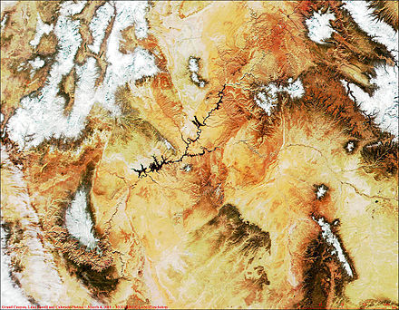 MODIS satellite image of Grand Canyon, Lake Powell (black, left of center) and the Colorado Plateau. White areas are snow-capped. MODIS1000013.jpg