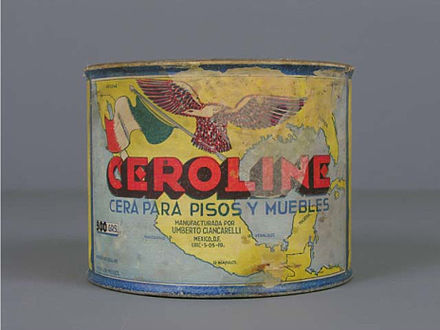 Ceroline brand wax for floors and furniture, first half of 20th century. From the Museo del Objeto del Objeto collection MODOCeroline.jpg