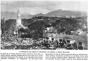 Ruined bombed out buildings near a church in Papeete after the bombardment.