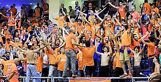 Maccabi Rishon LeZion (basketball) - Gush D during a game.