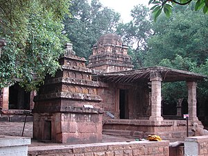 Mahakuta group of temples - Mallikarjuna temple (at rear), a dravida style temple at Mahakuta