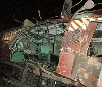 2008 Mumbai attacks - One of the bomb-damaged coaches at the Mahim station in Mumbai during the 11 July 2006 train bombings