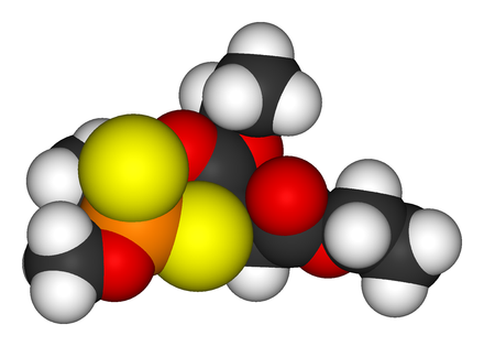 A molecular model of the pesticide malathion Malathion-3D-vdW.png