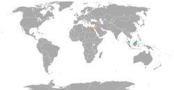 Map indicating locations of Malaysia and Palestine