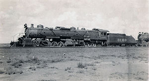 Mallet locomotive - A 2-10-10-2 Mallet Locomotive in Winslow, Arizona, during 1913-14.