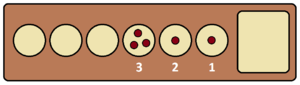 Kalah - This pattern can be cleared in a single turn by playing pits 1, 3, 1, 2, and 1, in that order, chaining together five moves.