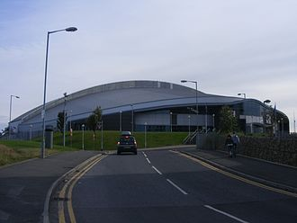 Manchester Velodrome - The exterior of the Manchester Velodrome from Stuart Street.