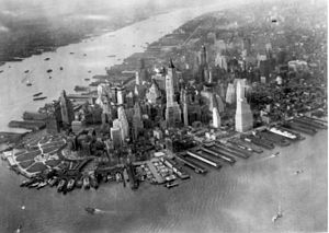 Aerial view of the tip of Manhattan, New York,...