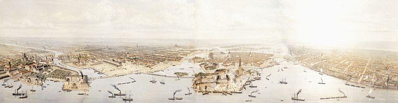 Otto August Mankells Stockholmspanorama blev skabt årene 1870 til 1871.   I midten ses Riddersholmen, til venstre Kungsholmen og til højre Södermalm