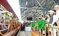 Manmohan Singh dedicating the newly constructed railway line between Banihal (Jammu region)-Qazigund (Kashmir valley) section to the Nation by flagging off the first DEMU train from Banihal through the Pir Panjal tunnel- the.jpg