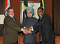 Manmohan Singh with the President of Brazil, Mr. Lula da Silva and the President of South Africa, Mr. Kgalema Motlanthe, at the Third Summit of the India, Brazil & South Africa (IBSA) Dialogue Forum, in New Delhi.jpg