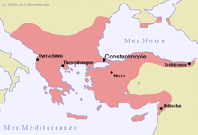 Carte de l'Empire byzantin en 1180