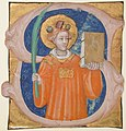 Manuscript Illumination with Saint Stephen in an Initial S, from an Antiphonary MET sf31-134-1s1.jpg