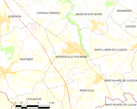 Mapa obce Aigrefeuille-sur-Maine