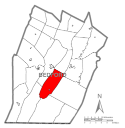 Map of Bedford County, Pennsylvania highlighting Bloomfield Township
