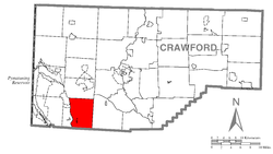 Location of East Fallowfield Township in Crawford County