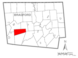 Map of Bradford County with Granville Township highlighted