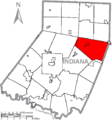 Map of Indiana County, Pennsylvania Highlighting Green Township.PNG