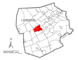 Map of Luzerne County highlighting Newport Township