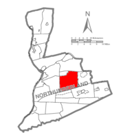 Map of Northumberland County, Pennsylvania highlighting Shamokin Township
