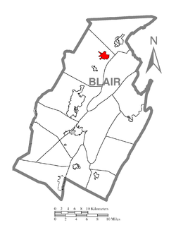 Location within Blair county