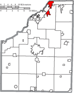 Location of Rossford in Wood County