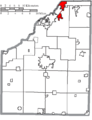 Map of Wood County Ohio Highlighting Rossford City.png