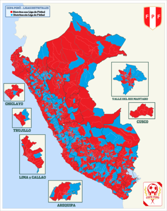 Ligas Distritales del Peru - Image: Mapacopaperu 16